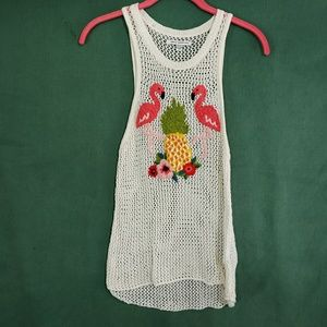 AMERICAN EAGLE CROCHET EMBROIDERED TANK SZ S